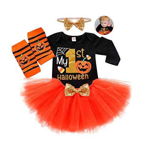 Easy Halloween Outfit Ideas (Baby Girl My 1st Halloween Outfit Long Sleeve Romper+Chiffon Tutu Skirt+ Striated Leg Warmth+ Headband 4 Piece Skirt Set 3-6Moths)
