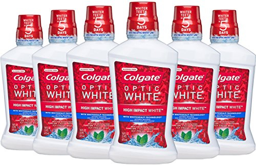 Colgate Optic White Whitening Mouthwash, Fresh Mint - 473 mL (6 Pack)