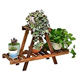 LJHA huajia Solid Wood Flower Racks Floor-Type Multi-Storey Shelves Balcony Flower Pot Rack Living Room with Wooden Flower Racks (75 26cm)