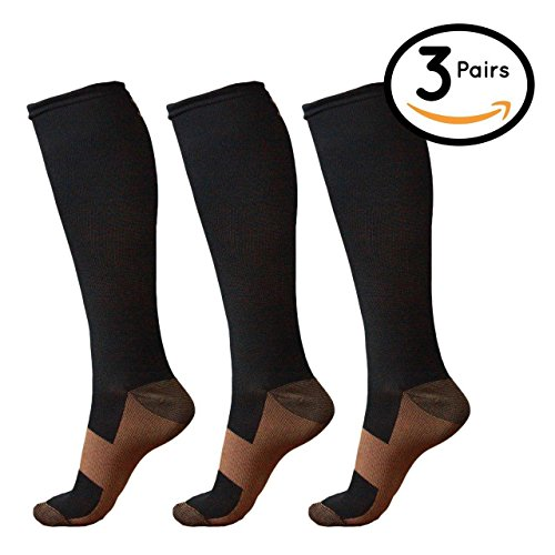Alpha Copper Infused Compression Socks for Men and Women (3 Pairs), Perfect for Running, Athletic, Medical, Pregnancy and Travel - 15-20mmHg (Black, Large/X-Large) by AlphaSole (Image #5)