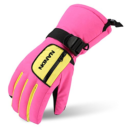Magarrow Boys and Girls Warm Windproof Snowboard Gloves Waterproof Outdoor Ski Gloves (Pink (b), X-Small (Fit kids 4-5 years old))