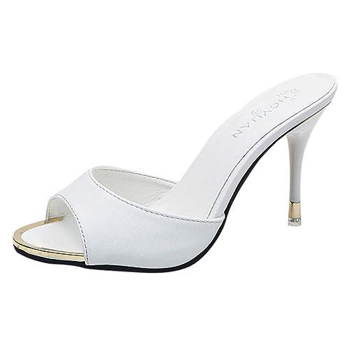 11a499082534 POLPqeD Sandali Delle Donne alla Moda Scarpe Estive Sandali da Donna in  Tinta Unita Sandali Aperti