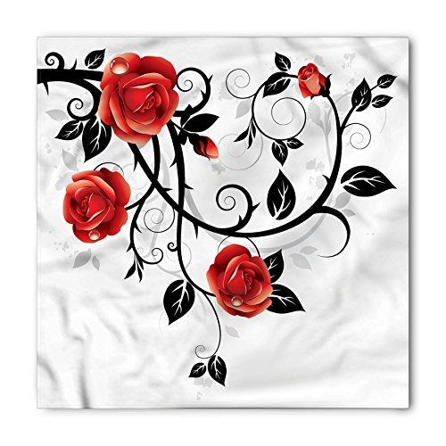 Ambesonne Unisex Bandana, Gothic Swirling Roses Garden, Vermilion Black