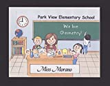 Elementary School Teacher Gift Personalized Custom Cartoon Print 8x10, 9x12 Magnet or Keychain