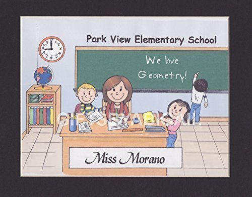 Elementary School Teacher Gift Personalized Custom Cartoon Print 8x10, 9x12 Magnet or Keychain by giftsbyabigail