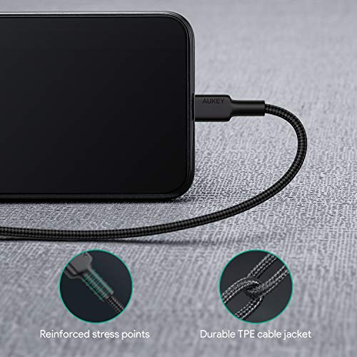 AUKEY USB C to Lightning Cable 3.6ft (Apple MFi Certified) Nylon Power Delivery Type C to iPhone Cable Fast Charge for iPhone 11 Pro/X / 8/8 Plus, iPad Pro 2017 and Other Apple iOS Devices