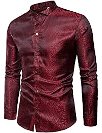 Mens Slim Fit Regular Long Sleeve Shiny Satin Silk Like Dance Prom Dress Shirt Tops