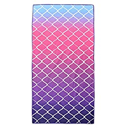 Ashley Mills Microfibre Quick Dry Sand Proof Summer Beach Towel Holiday Yoga Gym Towel 70x140cms (Lattice Pink)