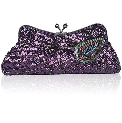 Women Vintage Beaded Shining Sequin Peacock Purse Party Clutch-Evening Bags (Purple)