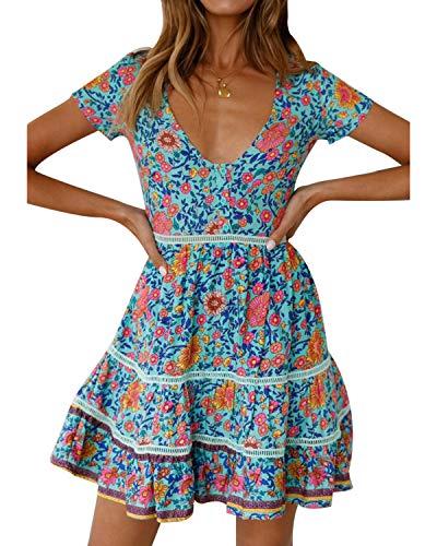 - STYLE DOME Short Sundresses for Women Floral Dress Spaghetti Strap V Neck Sleeveless Casual Summer Beach Mini Dress