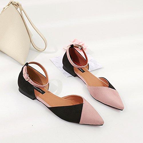 Xue Qiqi Hellen Nähten Hohlen Flachbild mit Einzelnen Schuhe Frauen für Tipp Flache Schuhe für Frauen Frauen Schuhe mit Schlitz Rosa c191d9