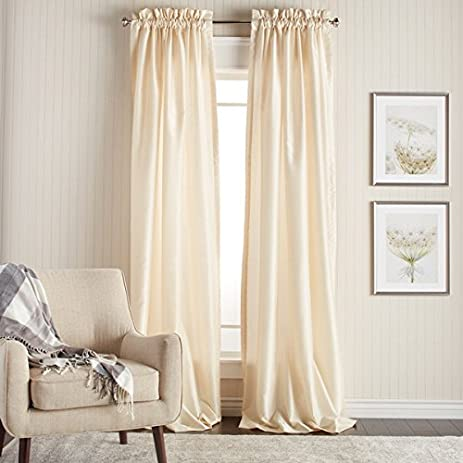 2 piece 96 inch ivory color faux silk curtains panel pair set offwhite
