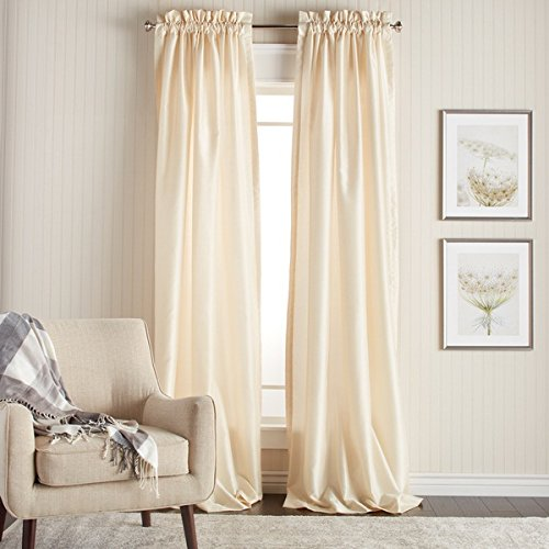 DH 2 Piece 108 Inch Ivory Color Faux Silk Curtains Panel Pair Set, Off-white Solid Color Window Rod Pocket Drapes, Puckered Tufted Texture Pattern Solid Color Stylish Modern, Faux Silk Polyester For Sale