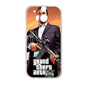 HTC One M8 Cell Phone Case White GTA 5 Michael Holding A Rifle Dwtmc