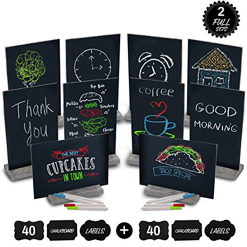 (Mini Chalk Board by East World - Double-Sided Chalkboard Sign for Wedding Decorations, Signs, Labels and More! Also Multi-Size 6x9