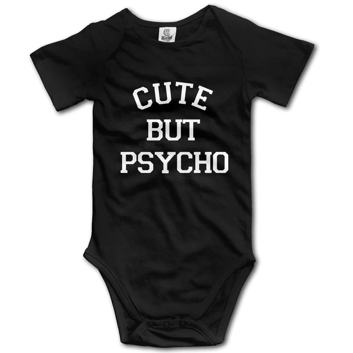 Cute But Psycho Printed Infant Baby Boy Girl Short-Sleeved Bodysuit Romper Jumpsuit
