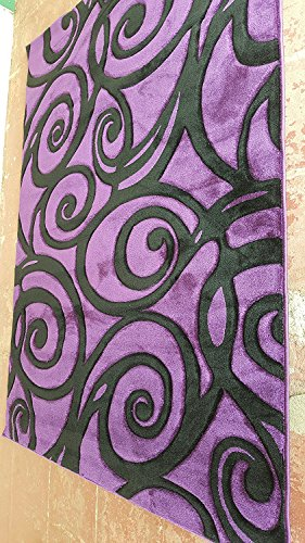 Contempo Modern Area Rug Contemporary Purple & Black Abstract Swirl Design #341 (4 Feet X 5 Feet 3 Inch)