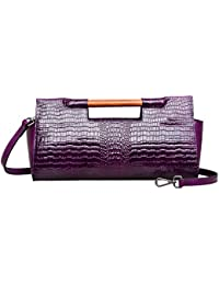 Womens Top Handle Clutch Handbag Casual Evening Bags Crocodile Crossbody Bags