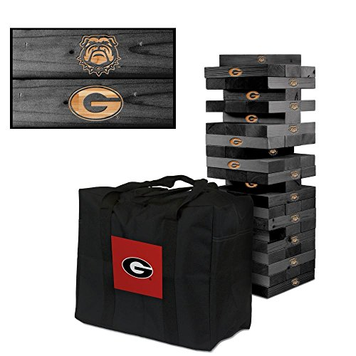 NCAA Georgia Bulldogs 850412Georgia Bulldogs Onyx Stained Giant Wooden Tumble Tower Game, Multicolor, One Size by Victory Tailgate