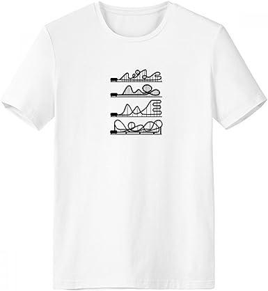 DIYthinker Parque de atracciones Negro de la silueta de la montaña rusa con cuello redondo de la camiseta blanca de manga corta Comfort Deportes camisetas de regalos - Multi -: Amazon.es: Ropa