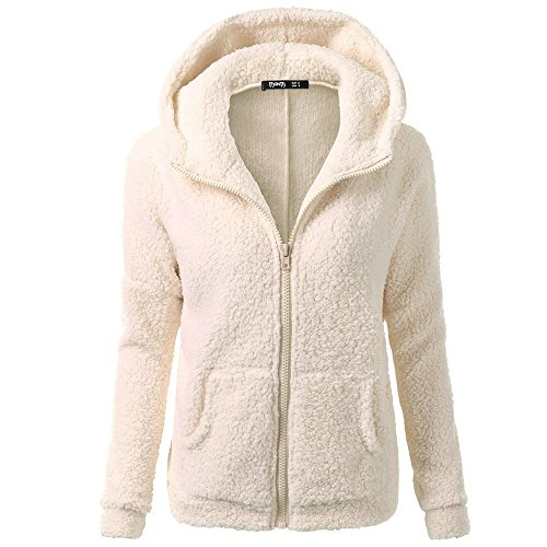 Clearance Winter Fleece Jackets,WUAI Womens Hoodie Sweater Wool Full-zip Plus Size Casual Outdoors Stylish Outwear(Beige,US Size 4XL = Tag -