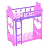 Lanlan 1Pcs Cute 3.5 Inch Plastic Double Bed Frame For Kelly Barbie Doll Dream House Bedroom Furniture Accessories Purple Pink Or Pink Yellow Color Random
