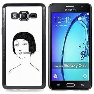"For Samsung Galaxy On5 O5 Case , Retrato de Asia Chica Dibujo Blanco Negro"" - Diseño Patrón Teléfono Caso Cubierta Case Bumper Duro Protección Case Cover Funda"