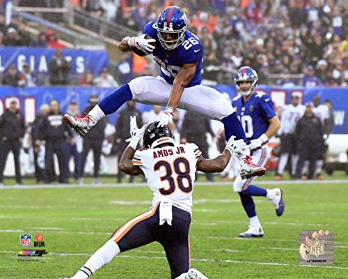 New York Giants Saquon Barkley Jumps over Chicago Bears Saftey 8x10 Photo Picture - Giants 8x10 Picture