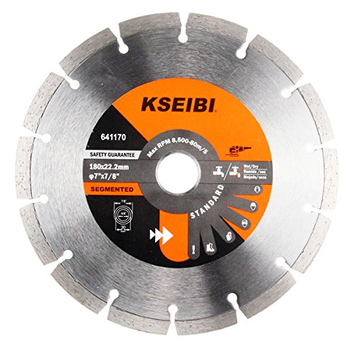 - KSEIBI 641170 General Purpose 7 inch Dry Wet Cutting Segmented Diamond Saw Blade with 7/8 inch Arbor for Concrete Stone Brick Masonry