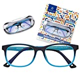 Kids Blue Light Blocking Glasses - Anti Eyestrain - Computer Video Gaming Eyeglasses for Boys & Girls - Bendable & Unbreakable Flexible Blue Square Frame Eye Glasses