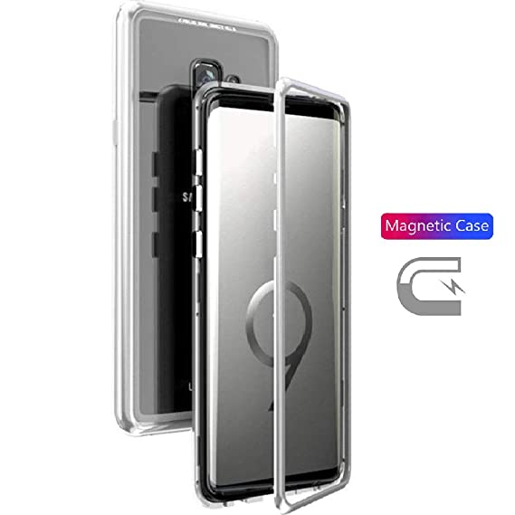 info for b480f 1ce32 Magnet Absorption Case for Galaxy S9 Metal Frame+Clear Glass Back Hard  Cover Hybrid Case Ultra Slim Magneto Flip Cover for Samsung S9 5.8 inch