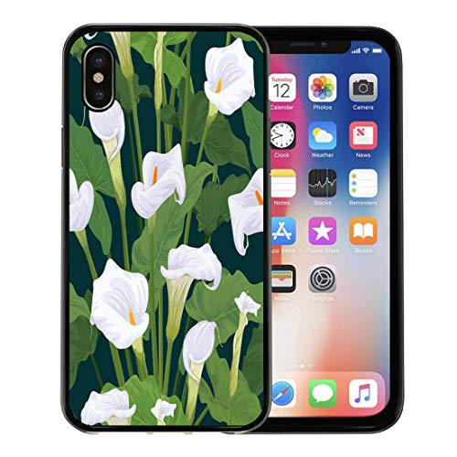 Bordered Lilies Calla (Emvency Phone Case for Apple iPhone Xs Case/iPhone X Case,White Antique of Calla Lily Flowers Leaves on Dark Soft Rubber Border Decorative, Black)