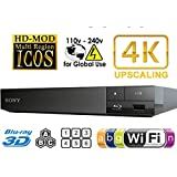SONY BDP-S6500 2K/4K - 2D/3D - Wi-Fi - Multi System Region Free Blu Ray Disc DVD Player - PAL/NTSC - USB - 100-240V 50/60Hz for World-Wide Use & 6 Feet HDMI Cable