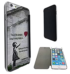 544 - Banksy Grafitti Art Balloon Girl Funky Quote Design iphone 6 6S 4.7'' Fashion Trend Funky Smart Clear Plastic & TPU Flip Case Full Cover Purse Pouch Defender Book Case