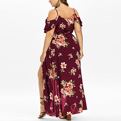 Manches Femme Vin t Ray Irrgulire Robe L~5XL De Boho Robe sans Bretelles DOGZI Taille Grande Longue Fleur Imprime Taille Dame PHwOqx4w