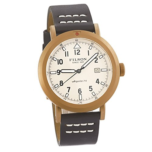 Filson Scout Brown Leather Strap Rose Gold PVD Brass Case Men's Watch by Filson