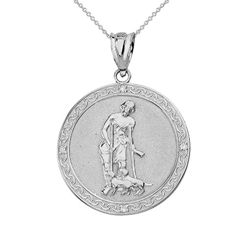 925 Sterling Silver Saint Lazarus Pray for Us Medallion CZ Charm Necklace (1