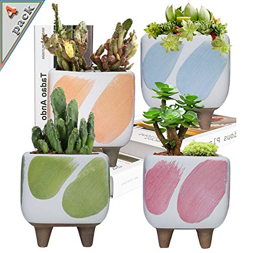 4 Sets Coarse Ceramic Succulent Pots, Handmade Breathable Succulent Cactus Planters, Flower Plant Pot with Water-Hold Legs and Drainage Hole 3.7 Inch, Plants are not Included
