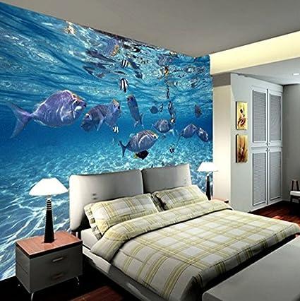 Kuamai 3D Wallpaper Creativo Submarino Mundo Marina Mural Vida Niños Dormitorio Acuario Sala De Estar Telón