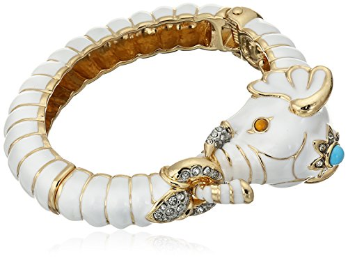 (Kenneth Jay Lane Gold Crystal and White Enamel Elephant Bracelet )
