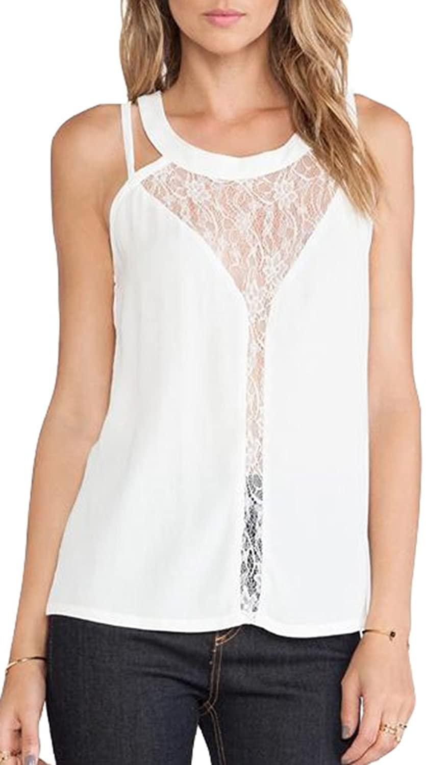 Popuus Women's Sexy Lace Splicing Tank Top White