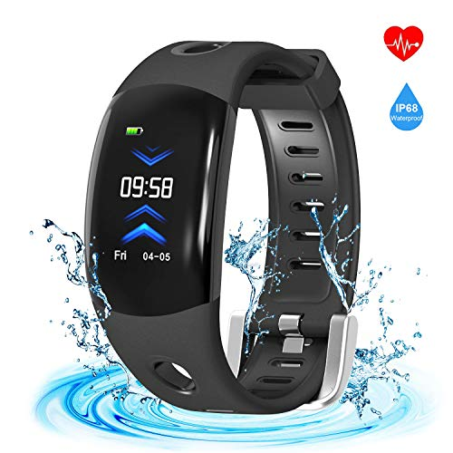 Fitness Tracker, Armor Activity Tracker Watch Smart Bracelet Band with 3D Screen Pedometer Auto Sleep Tracker Sedentary Alert Heart Rate Monitor Calls SMS Reminder (Black)