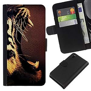 Sony Xperia Z3 D6603 / D6633 / D6643 / D6653 / D6616 , la tarjeta de Crédito Slots PU Funda de cuero Monedero caso cubierta de piel ( Roar Tiger Teeth Mouth Open Drawing Art)