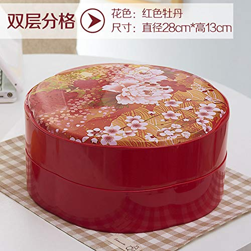 - AdorabFruit Plastic fruit plate creative multi- colored candy box Chinese New Year living room dried fruit box plastic compartment , red peony double-layer