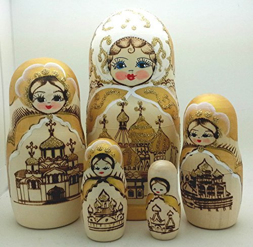 (Russian Church nesting dolls Wood Burned Hand Carved Hand Painted 5 piece DOLL Set 7