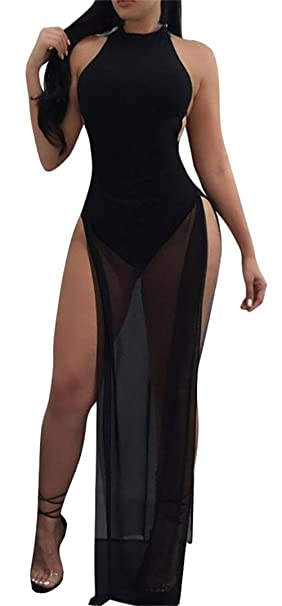 c5cceb41980c S-Fly Women's Sexy Side Slit Backless Mesh Patchwork Club Bodysuit Maxi Dress  Black XS