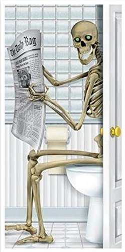 [Skeleton Restroom Door Cover Party Accessory (1 count) (1/Pkg)] (Halloween Accessories)