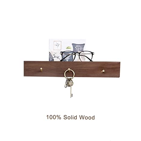 Wall Mount Wood Coat Hangers With Brass Hook, Heavy Duty Storage Towel Rail  Stick Décor