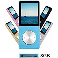 Ultrave 8GB MP3 MP4 Player Supports FM Radio Voice Recorder TXT File E-book Photo Viewer Calendar Alarm Screensaver With External Speaker, Expandable Up to 64GB (Blue 3)