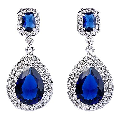 EVER FAITH Women's Austrian Crystal Zircon Luxury Teardrop Dangle Earrings Royal Blue Silver-Tone ()